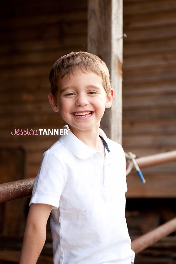 4 Year Old boy on farm